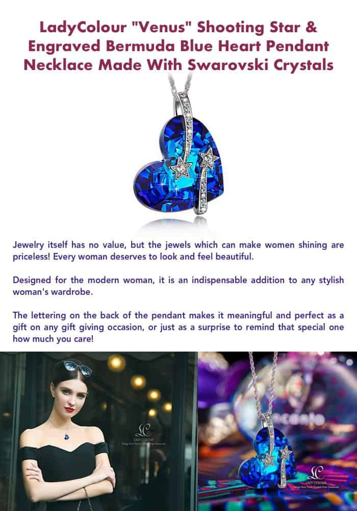 Blue Heart Pendant Necklace Made With Swarovski Crystals