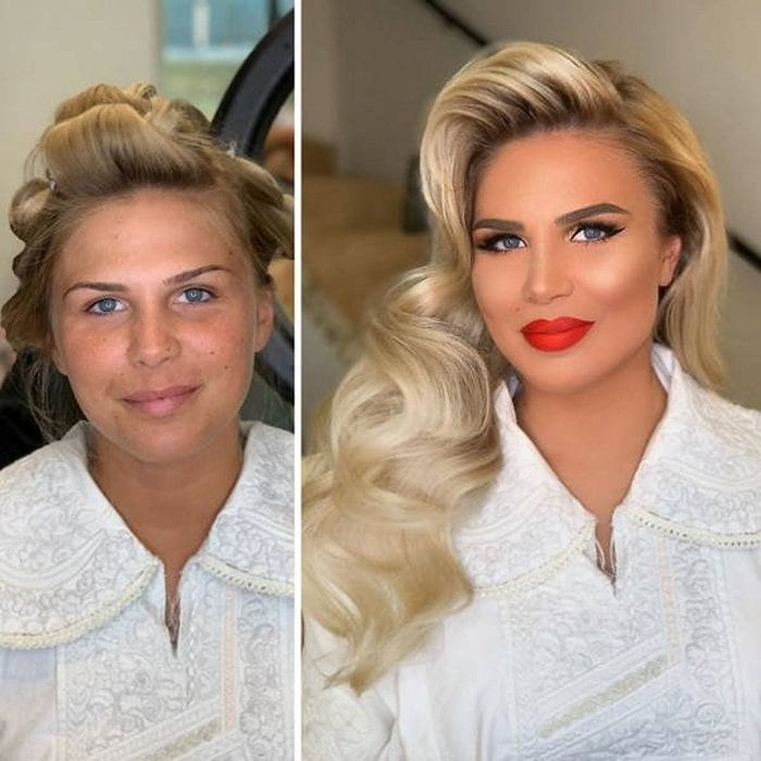 Brides Before And After Their Wedding Makeup (23 Photos)-19