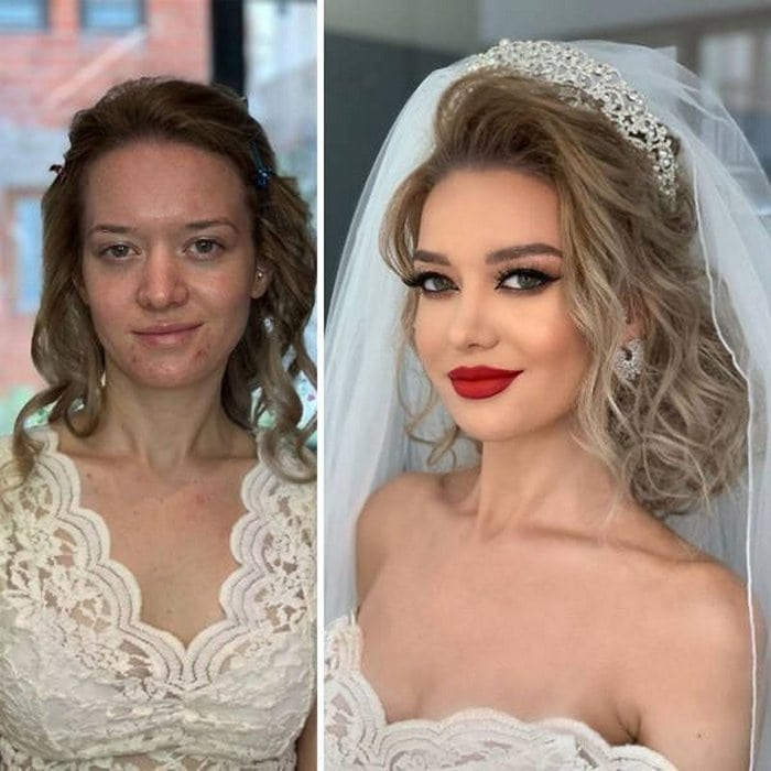 Brides Before And After Their Wedding Makeup (23 Photos)-20