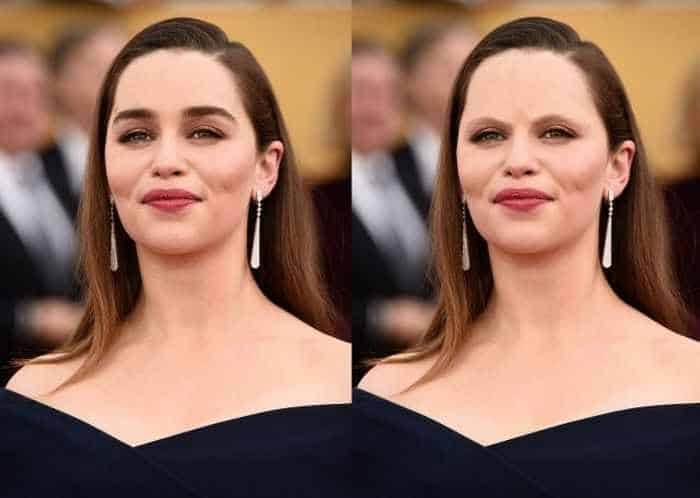 18 Celebrities With And Without Eyebrows - Emilia Clarke