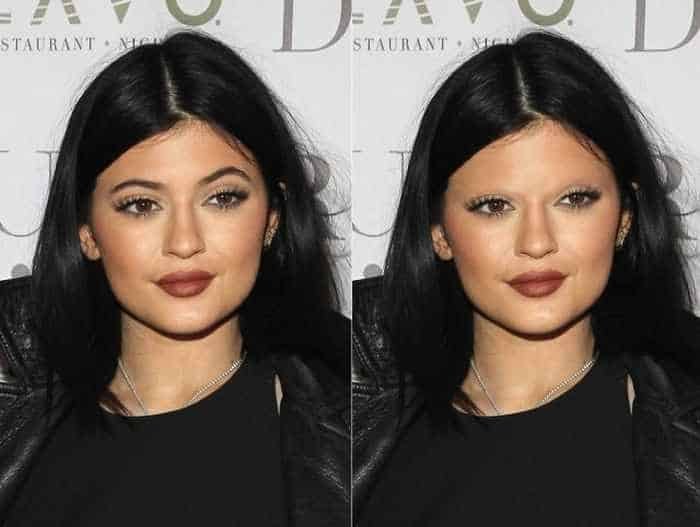 18 Celebrities With And Without Eyebrows - Kylie Jenner