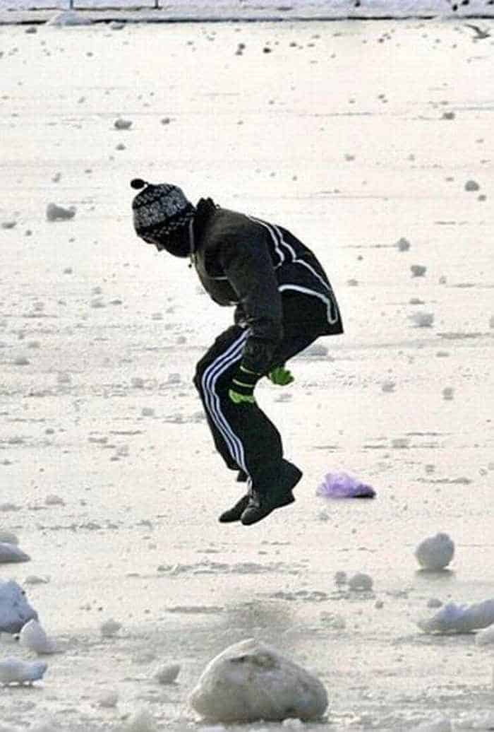Crazy Idiot Boy Stomping And Jumping On Thin Ice-02