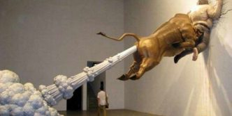 Funny Emergency Exit For Wall Street Bull
