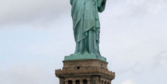 Meanwhile Statue Of Liberty In Hot Summer