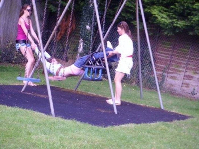Funny Adults That Stuck At Kids Playgrounds (36 Photos)-10