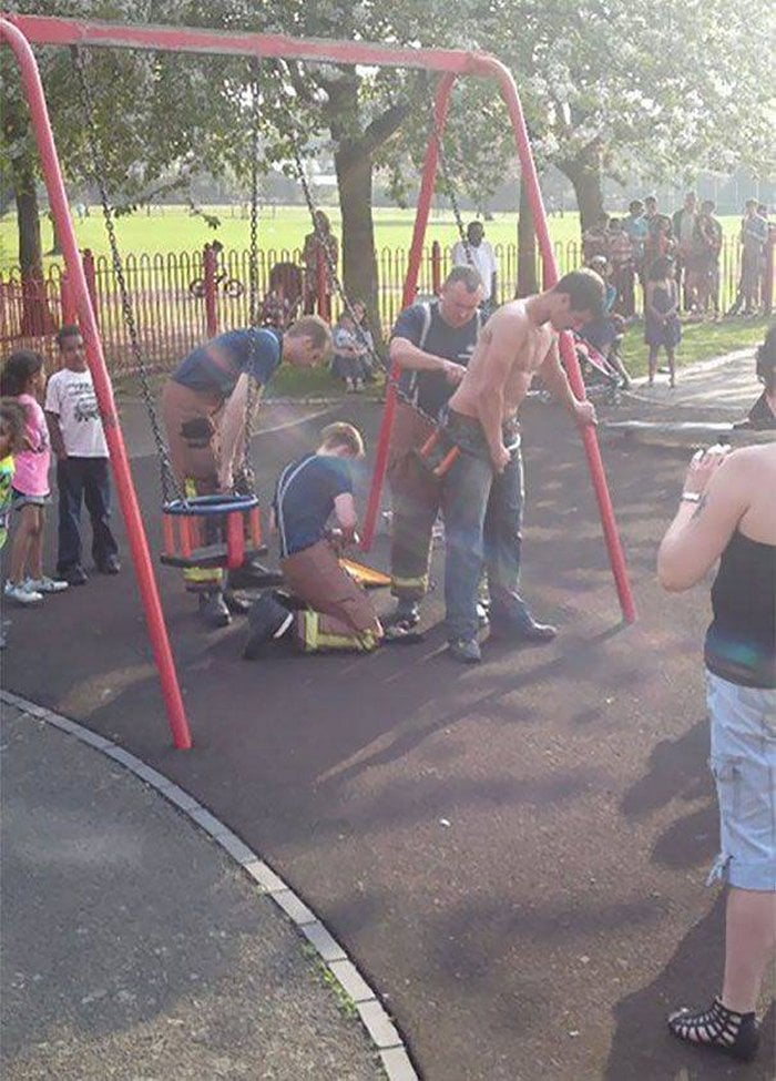 Funny Adults That Stuck At Kids Playgrounds (36 Photos)-17