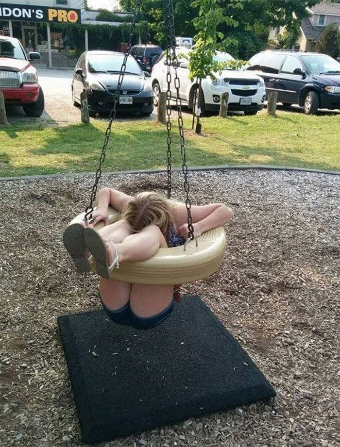 Funny Adults That Stuck At Kids Playgrounds (36 Photos)-28