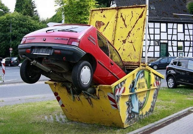 Funny Car In Dumpster