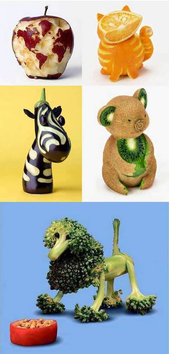 Pics of funny animals with the help creative food art