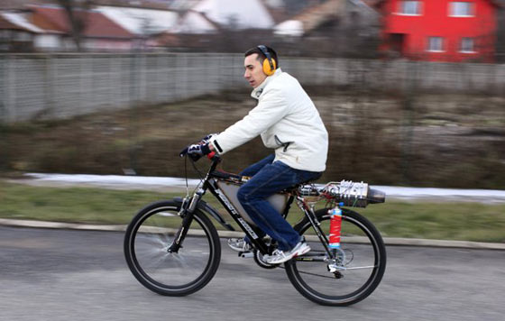 Funny Homemade Bicycle Made From Jet Engine -01