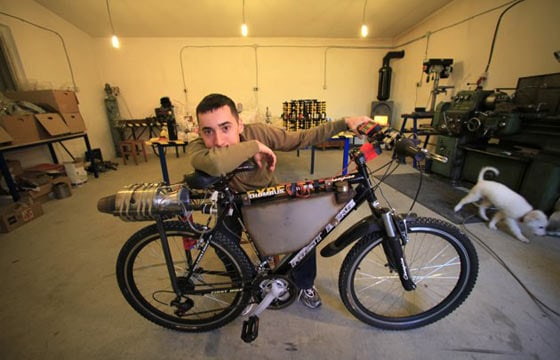 Funny Homemade Bicycle Made From Jet Engine -02