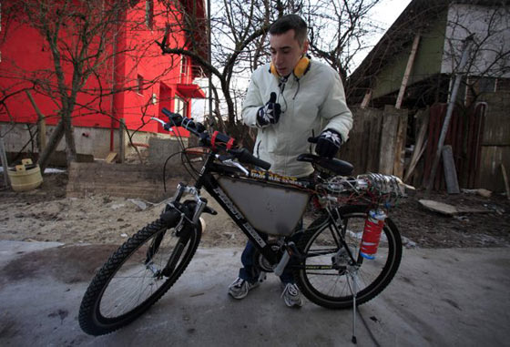 Funny Homemade Bicycle Made From Jet Engine -08