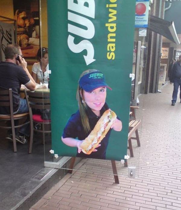 Epic Fail Subway Sign Board - What's Look Bigger? Sandwich Or Head