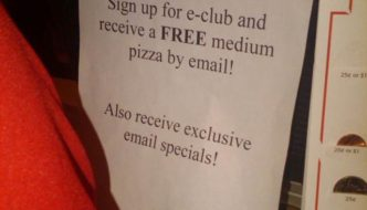 Sign up And Receive a Free Pizza By Email