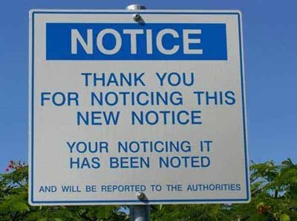 Funny Picture of Notice Fails