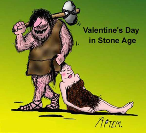 Valentine's Day In Stone Age Funny Picture