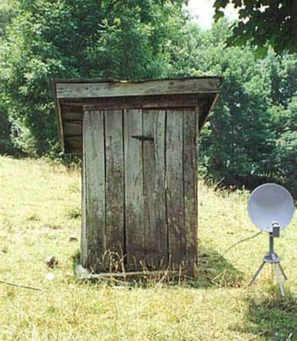 Wooden Restroom With Satellite TV Will Blow Your Mind