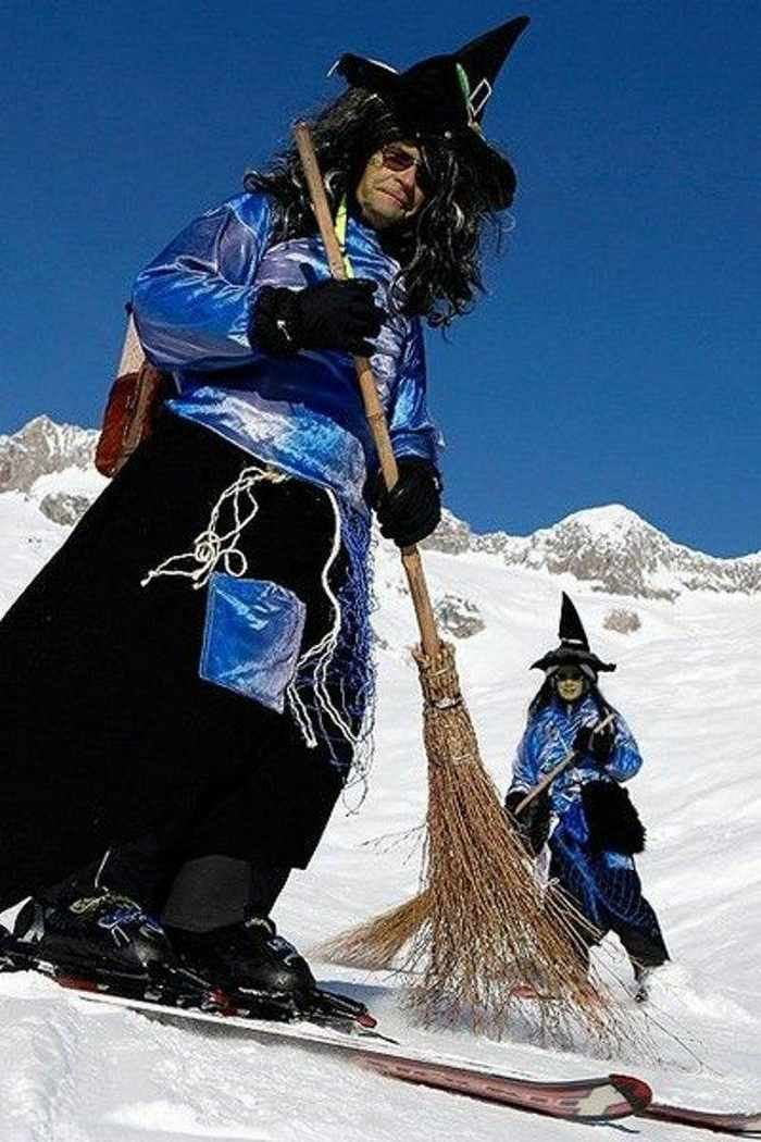 Meanwhile Skiing Funny Witches  In Switzerland-02