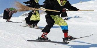 Meanwhile Skiing Funny Witches  In Switzerland
