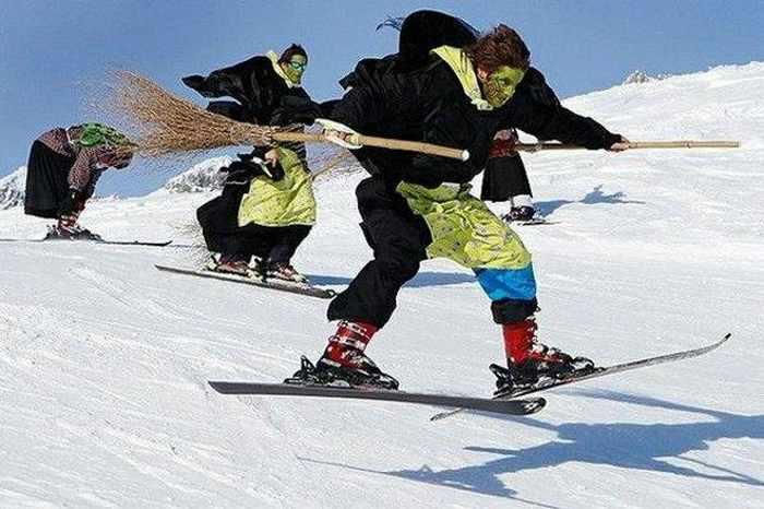 Meanwhile Skiing Funny Witches In Switzerland - Wackyy