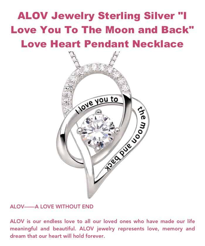 ALOV Jewelry Sterling Silver Love Heart Pendant Necklace
