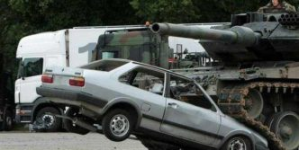 Tank VS Car – One of The Strange Experiment Pics