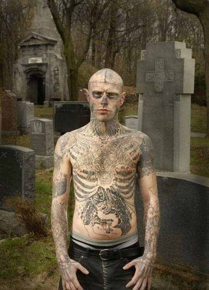 Zombie Boy Rick Genest : Full Body Covered With Tattoo-03