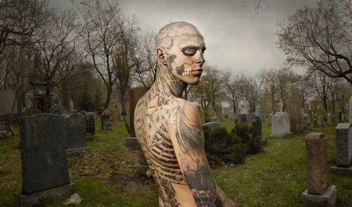 Zombie Boy Rick Genest : Full Body Covered With Tattoo-15